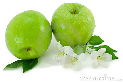 Green apple and white flower.