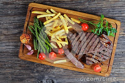 Medium well grilled juicy beef steaks