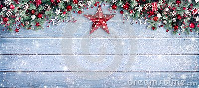 Christmas Border - Fir Branches And Ornament