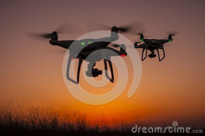 Two drones in the sky