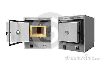 Laboratory industrial High Temperature Muffle Furnace isolated on white background