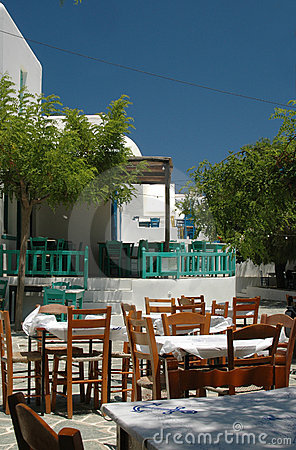 Restaurants and cafes in greek village