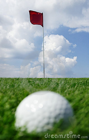 Golf ball and flag