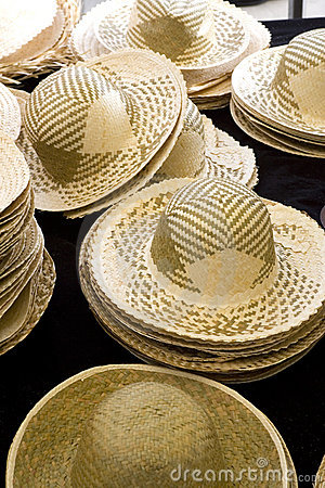 Sun Hats on Display in a French Market