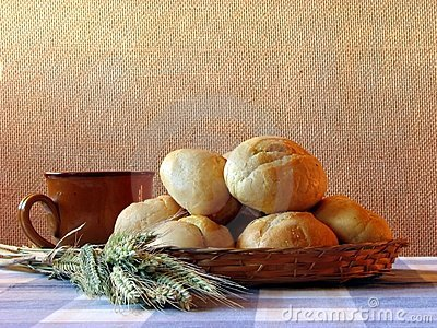 Bread and wheat still-life