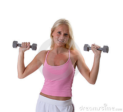 Beautiful blonde woman lifting weights