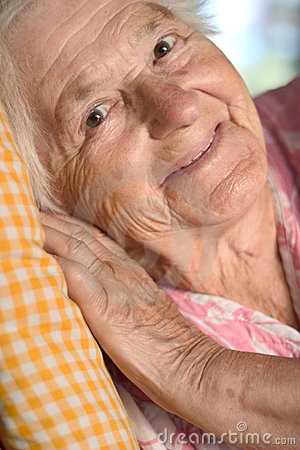 Smiling aged woman