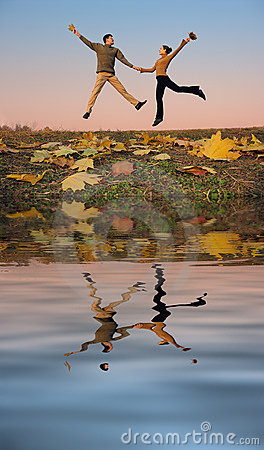 Jump couple. autumn water