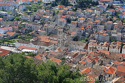 Aerial view of main city square on Hvar