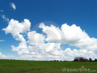 Red Barn, Fluffy clouds2