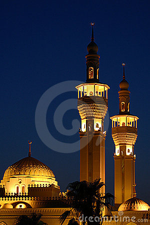 Mosque lights at night
