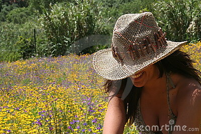 Young Girl at Flower Field
