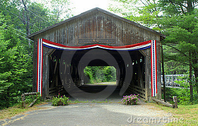 Covered bridge with bunting