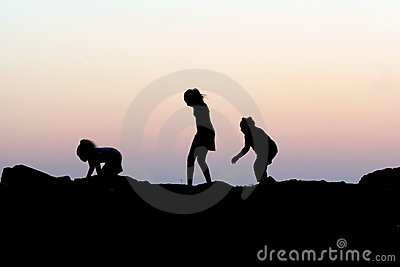 Children Sunset Silhouette