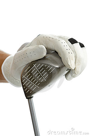 Hand with golf glove