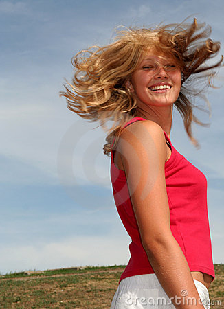 Woman with hair flying