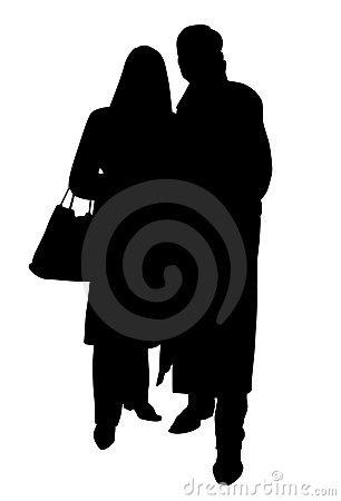 Couple silhouette with clipping path