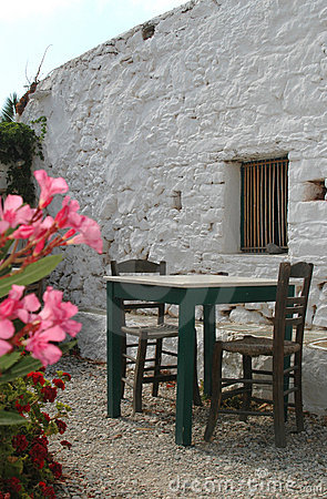 Restaurant next to ancient building