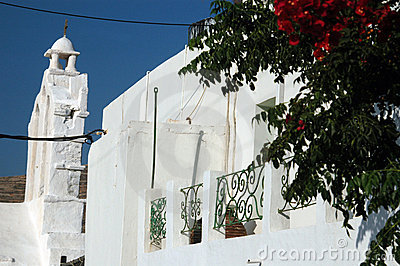 Greek architecture with flowers