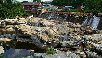 Dam and rocky river