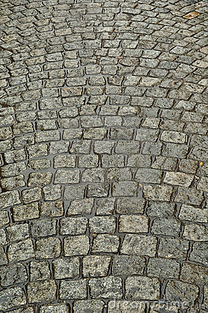 Wet cobbled Road Close up