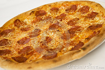 Pizza with salami and cheese