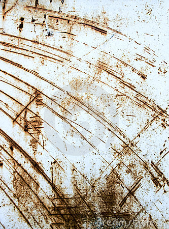 Rusty scratched metal sheet