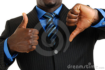 Business man showing thumbs up and thumbs down