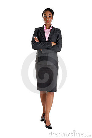 Serious business woman standing