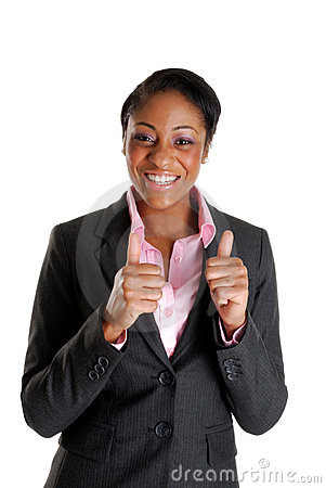 Business woman happy with thumbs up
