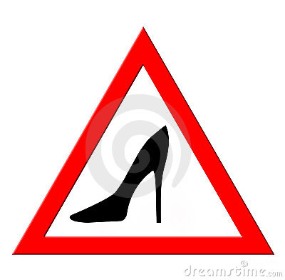 Warning sign with woman shoes silhouette