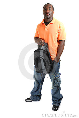 Student standing confidently with a bag