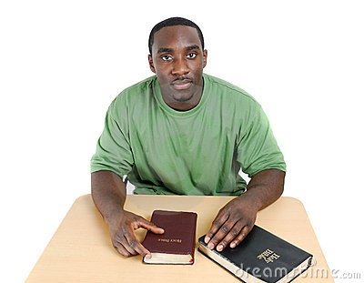 Bible studies student with bibles