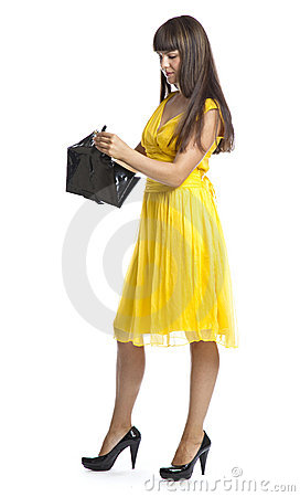 Beautiful woman in yellow dress