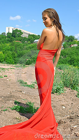 Smiling girl in red dress