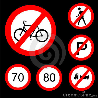 Six Round Prohibitory Road Signs Set 3
