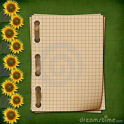 Grunge notebook with sunflowers