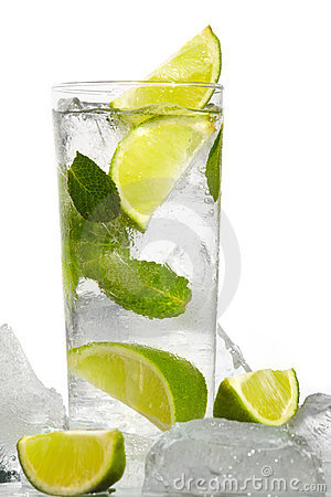 Mint, lime ice vodka