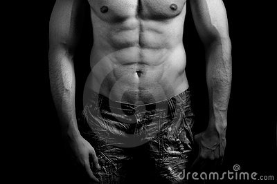 Torso of muscular man with sexy abdomen