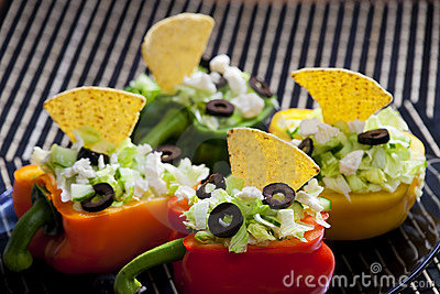 Peppers filled with salad
