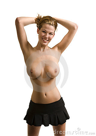 Topless female model in studio