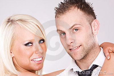Young love couple smiling.