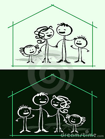 Cartoon family & home