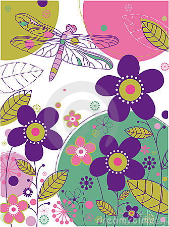 Floral background with a dragonfly