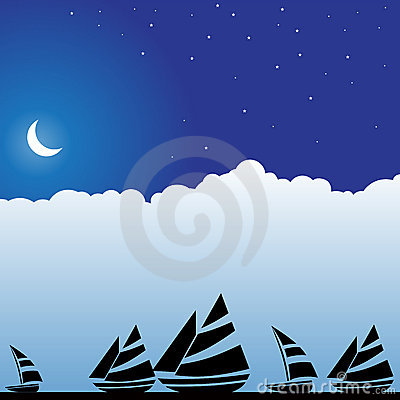 Night Sky Scene - Boats