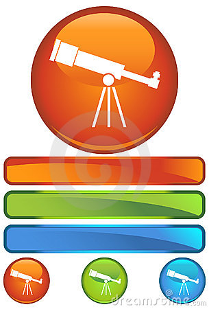 Orange Round Icon - Telescope