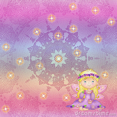 Iridescent background with the fairy and asterisks
