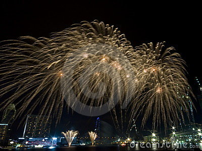 Golden Showers Fireworks at National Day Rehearsal