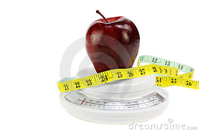 Apple, Tape Measure on Food Scale