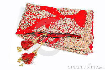 Red bridal lehnga with hangings